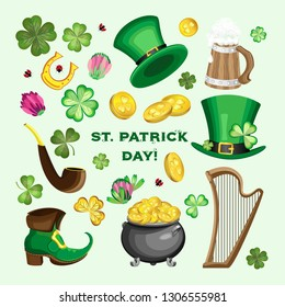 Vector set of items for St. Patrick's day. Transparent background