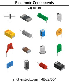 Vector set of izometric electronic components. Collection of capacitors.