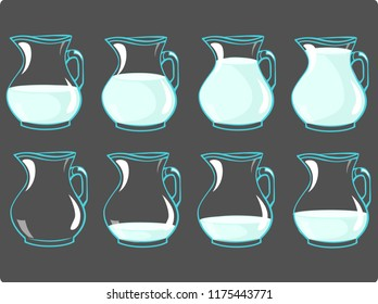 Vector set of jag with milk - frame for animation