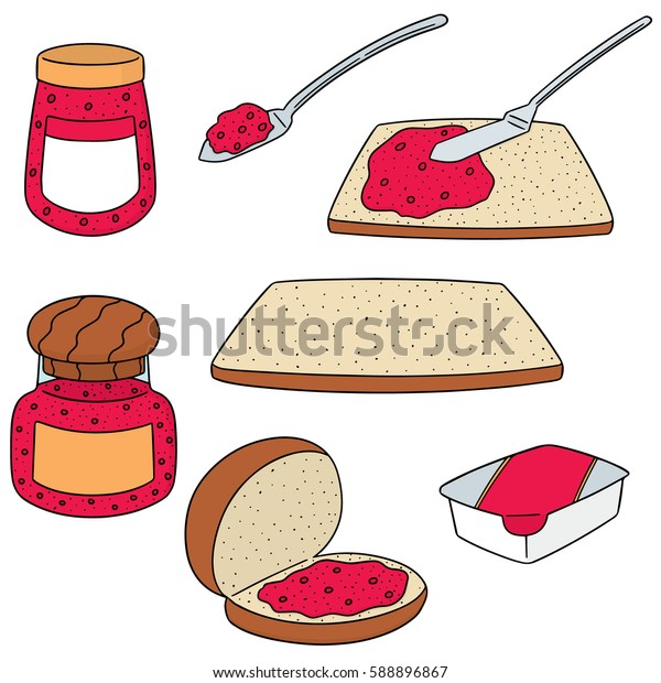 vector set of jam and bread