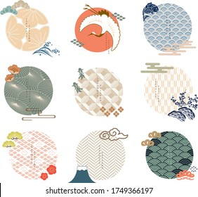 Vector set of Japanese icon and logo template. Geometric pattern in Asian traditional style. Wave, plum flower, cherry blossom flower, carp fish, cloud and bonsai elements.