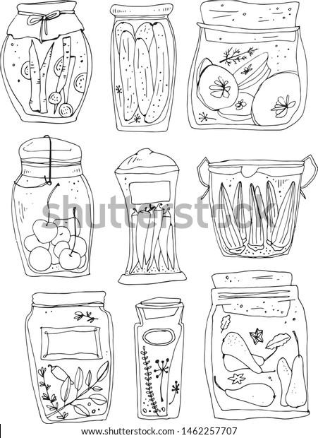 Vector Set Jars Seaming Magic Kitchen Stock Vector Royalty Free 1462257707