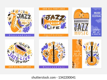 Vector set of  Jazz festival poster templates. Saxophone, double bass, piano, trumpet, bass drum and banjo. Perfect for music events, jazz concerts.