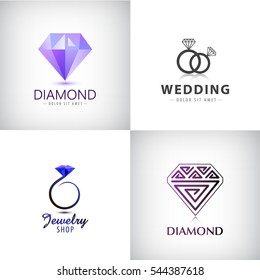 Vector set of jewellery logos. Ring, wedding, diamond icons