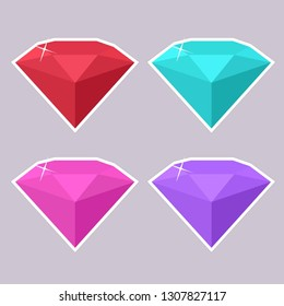 Vector set of jewelry gems icon. Stones diamond of different colors. Diamonds illustration in flat minimalism style.