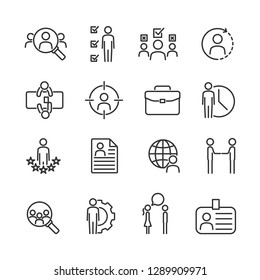 Vector set of job hunting line icons.