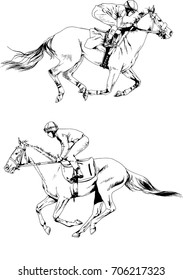 vector set of jockey galloping on a horse drawn ink on white background logo tattoo