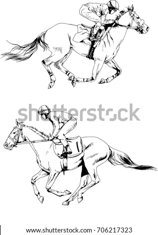 Vector Set Of Jockey Galloping On A Horse Drawn Ink White Background Logo Tattoo