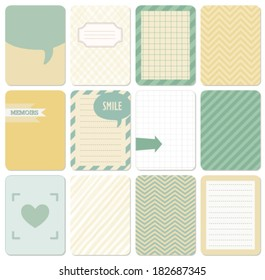Vector set of journaling card for scrapbook and design, 3x4 size. Summer collection, part 1.
