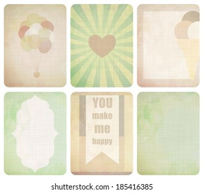Vector set of journaling card for scrapbook and design, 3x4 size. Summer collection, part 3.