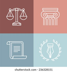 Vector set of juridical and legal logos and signs - line icons