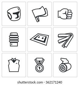 Vector Set of Karate Icons. Helmet, Flags, Fist, Makiwara, Tatami, Belt, Judge, Medal, Bandage. Safety, Refereeing, Equipment, Mat, Equipment, Certification, Award, Treatment