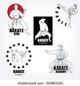 Vector set of Karate logos, labels, badges and design elements.
