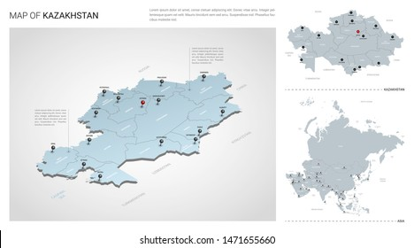 Vector set of Kazakhstan country.  Isometric 3d map, Kazakhstan map, Asia map - with region, state names and city names.