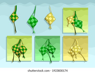 vector a set of ketupat with various cute color choices, perfect for decoration in the month of Ramadan on this Eid mubarak. all Muslims are happy. very delicious ketupat to enjoy. green and yellow.