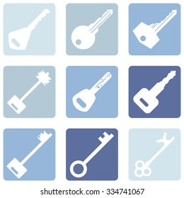 Vector Set of Keys Icons. Modern and Antique Keys. Types of Keys
