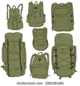 Vector Set of Khaki Cartoon Backpacks. Casual, Fashion, Hiking, Sport and Tactical Knapsacks