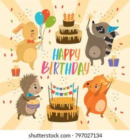 vector set. kid holiday. cute animals happy birthday