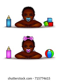 Vector set of kids of African-Americans. A boy and a girl with a pacifier in their mouth. Afro-American twins play with toys