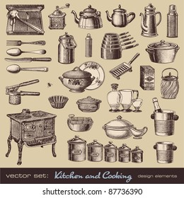 vector set: kitchen and cooking - collection of vintage kitchen items and tableware