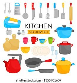 Vector set of kitchen utensils. Collection of cartoon tableware.