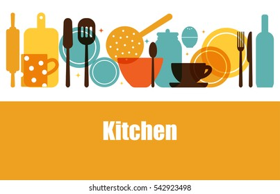 Vector set of kitchen utensils for cooking. Kitchen tools. The interior of the kitchen. Set of vector elements for the kitchen.