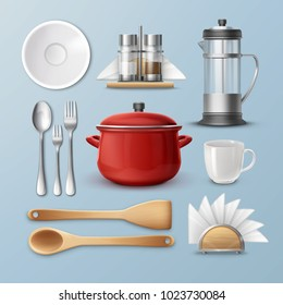 Vector set of kitchenware: dishes, flatware and utensil. Isolated on blue background