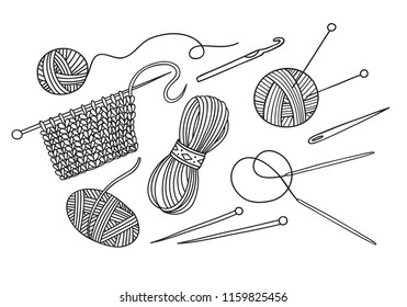 Vector set of knitting tools and yarn . Can be used as a sticker, icon, logo, design template, coloring page