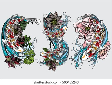 Vector set koi with lotus, cherry blossoms and peony for tattoo and background.