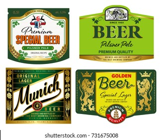 Vector set of label templates for drink products (green set)