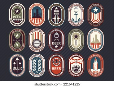 Vector set of label templates for various products, army themed