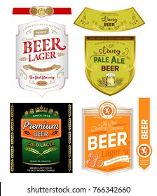 Vector set of label templates for various products, drink products