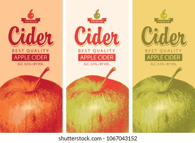 Vector set of labels for Apple cider with a realistic image of an apple and calligraphic inscription