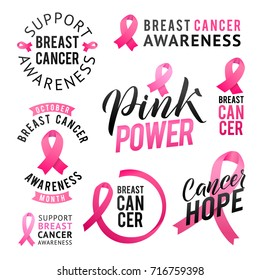 Vector set of labels Breast Cancer Awareness. October is Cancer Awareness Month. Calligraphy Poster Designs