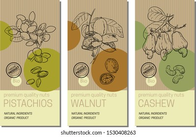 Vector set of labels with nuts sketches: pistachios, walnut, and cashew. Healthy food, bio, organic, natural product. Craft paper packaging
