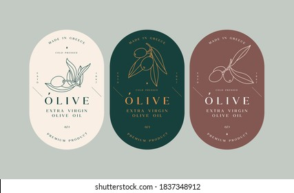 Vector set labels with olive branch - simple linear style. Emblems composition with olives and typography