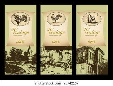 vector set of labels retro style, a natural product