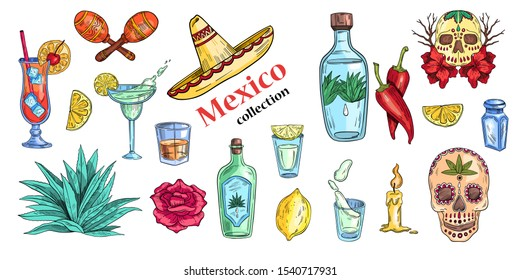 """Vector """"Mexico collection"""" set of labels with sombrero, tequila bottles, cocktails, skulls and agave. Icons in engraving grunge style. Isolated on white."""