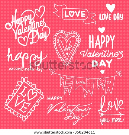 Vector Set Labels Valentines Day Phrases Stock Vector Royalty Free
