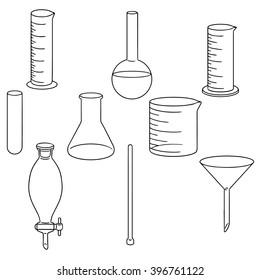 vector set of laboratory glassware