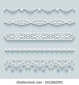 Vector set of lace border vignettes, templates for laser cutting. Vintage flourish ornaments, cutout paper decoration, eps10
