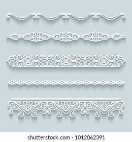 Vector set of lace border vignettes, templates for laser cutting. Vintage flourish ornaments, cutout paper decoration, eps10