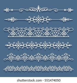 Vector set of lace border vignettes, suitable for laser cutting. Vintage flourish ornaments, cutout paper decoration, eps10