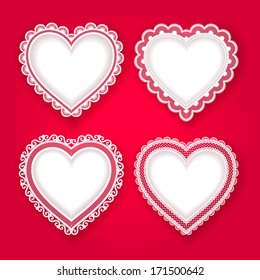 Vector set of lace hearts. Vintage decoration for wedding or Valentine's day