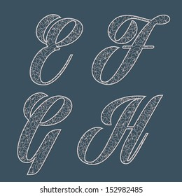 Vector set of lace letters. E F G H