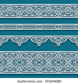 Vector set of lace ribbons, cutout paper decoration. Vintage border ornaments, suitable for laser cutting or wood carving, eps10