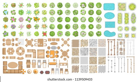 Vector set for landscape design. Outdoor furniture, architectural elements, trees and flowers. (top view) Fences, paths, tile, benches, tables, chairs, sun loungers, umbrellas. (view from above)