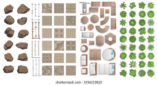 Vector set for landscape design. Outdoor furniture, architectural elements, trees. (top view) Fences, paths, tile, benches, tables, chairs, sun loungers. (view from above)