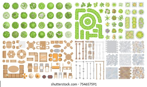 Vector set for landscape design. Outdoor furniture, architectural elements, trees and plants. (top view) Fences, paths, tile, benches, tables, chairs, sun loungers, umbrellas. (view from above)