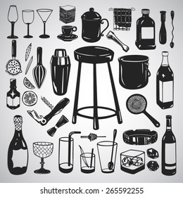 Vector set: Large set of bar equipment and glassware